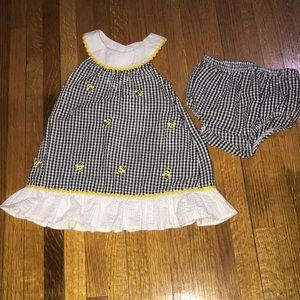 Black Gingham Bumblebee Summer Dress